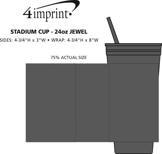 Imprint Area of Stadium Cup with Lid & Straw - 24 oz. - Jewel
