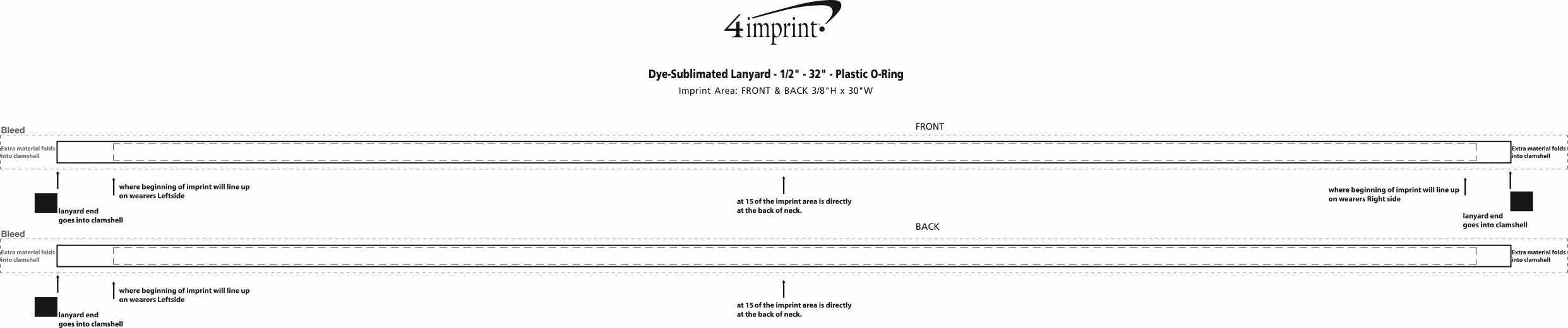 "Imprint Area of Dye-Sublimated Lanyard - 1/2"" - 32"" - Plastic O-Ring"