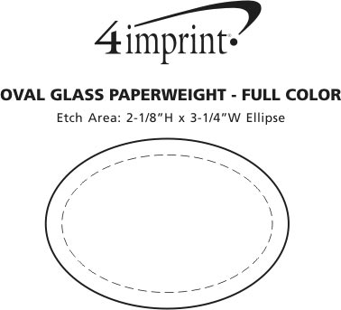 Imprint Area of Oval Glass Paperweight - Full Color