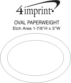 Imprint Area of Oval Glass Paperweight
