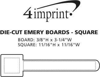 Imprint Area of Die-Cut Emery Board - Square