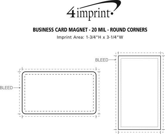 Imprint Area of Business Card Magnet - 20 mil - Round Corners
