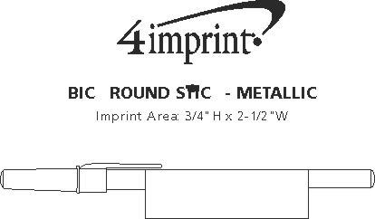 Imprint Area of Bic Round Stic Pen - Metallic