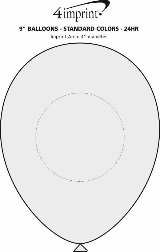 "Imprint Area of Balloon - 9"" Standard Colors - 24 hr"