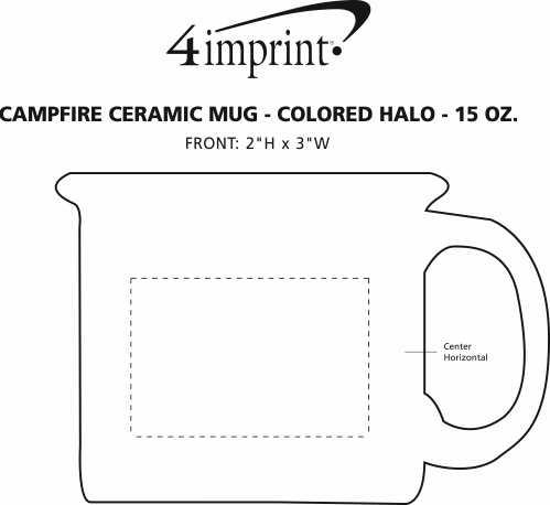 Imprint Area of Campfire Ceramic Mug - Colored Halo - 15 oz. - 24 hr