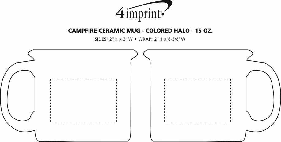 Imprint Area of Campfire Ceramic Mug - Colored Halo - 15 oz.