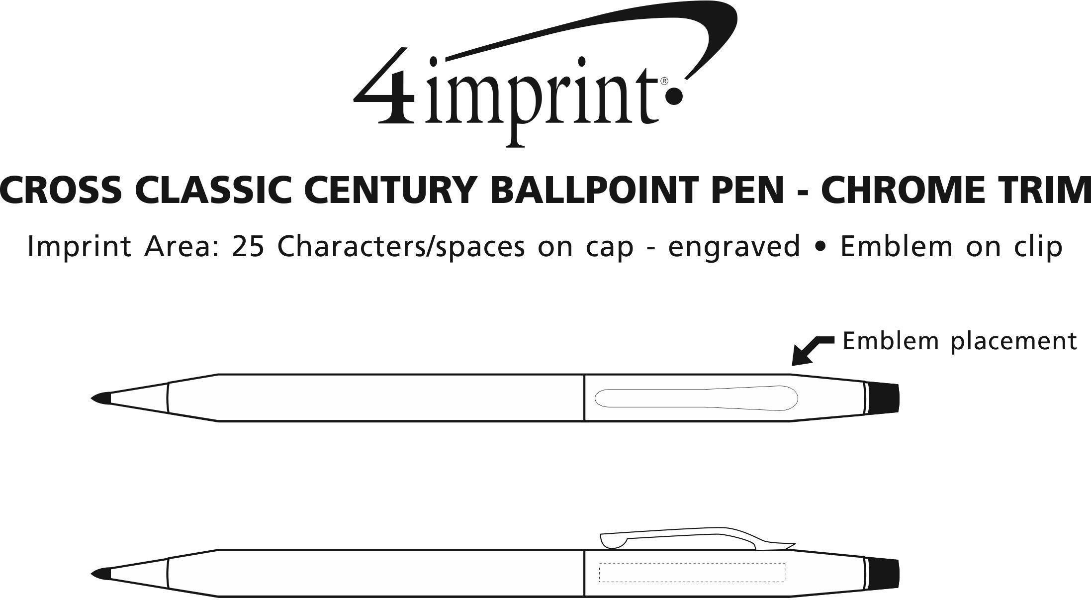 Imprint Area of Cross Century Classic Twist Metal Pen