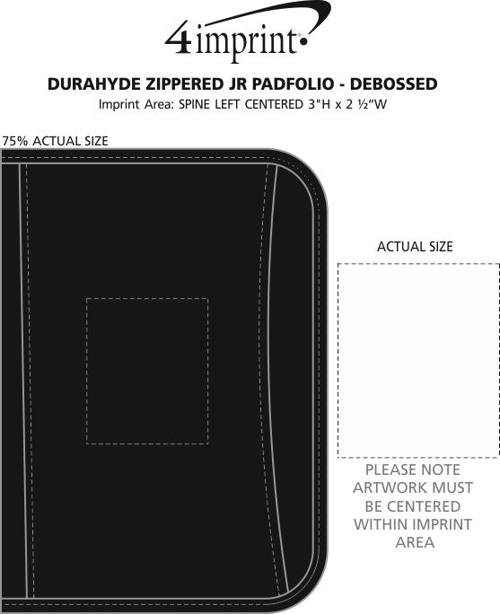 Imprint Area of DuraHyde Zippered Jr. Padfolio - Debossed