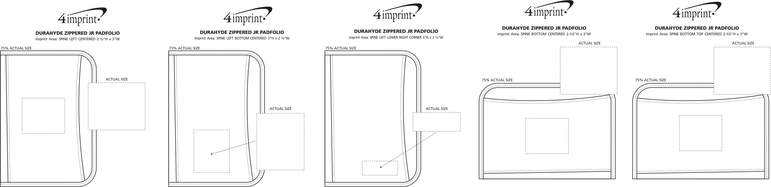 Imprint Area of DuraHyde Zippered Jr. Padfolio