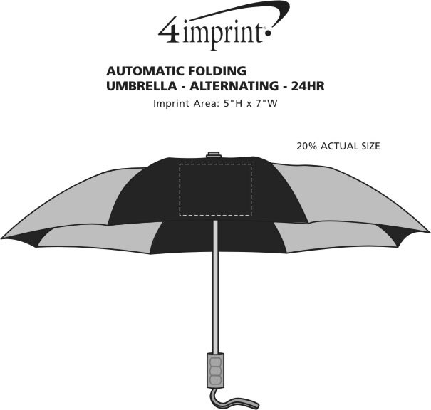 "Imprint Area of 42"" Folding Umbrella with Auto Open - Alternating - 42"" Arc - 24 hr"
