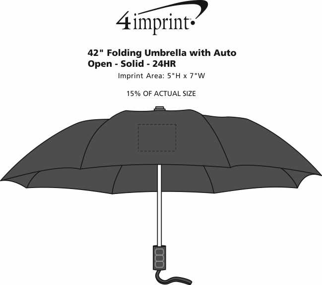 "Imprint Area of 42"" Folding Umbrella with Auto Open - Solid - 42"" Arc - 24 hr"