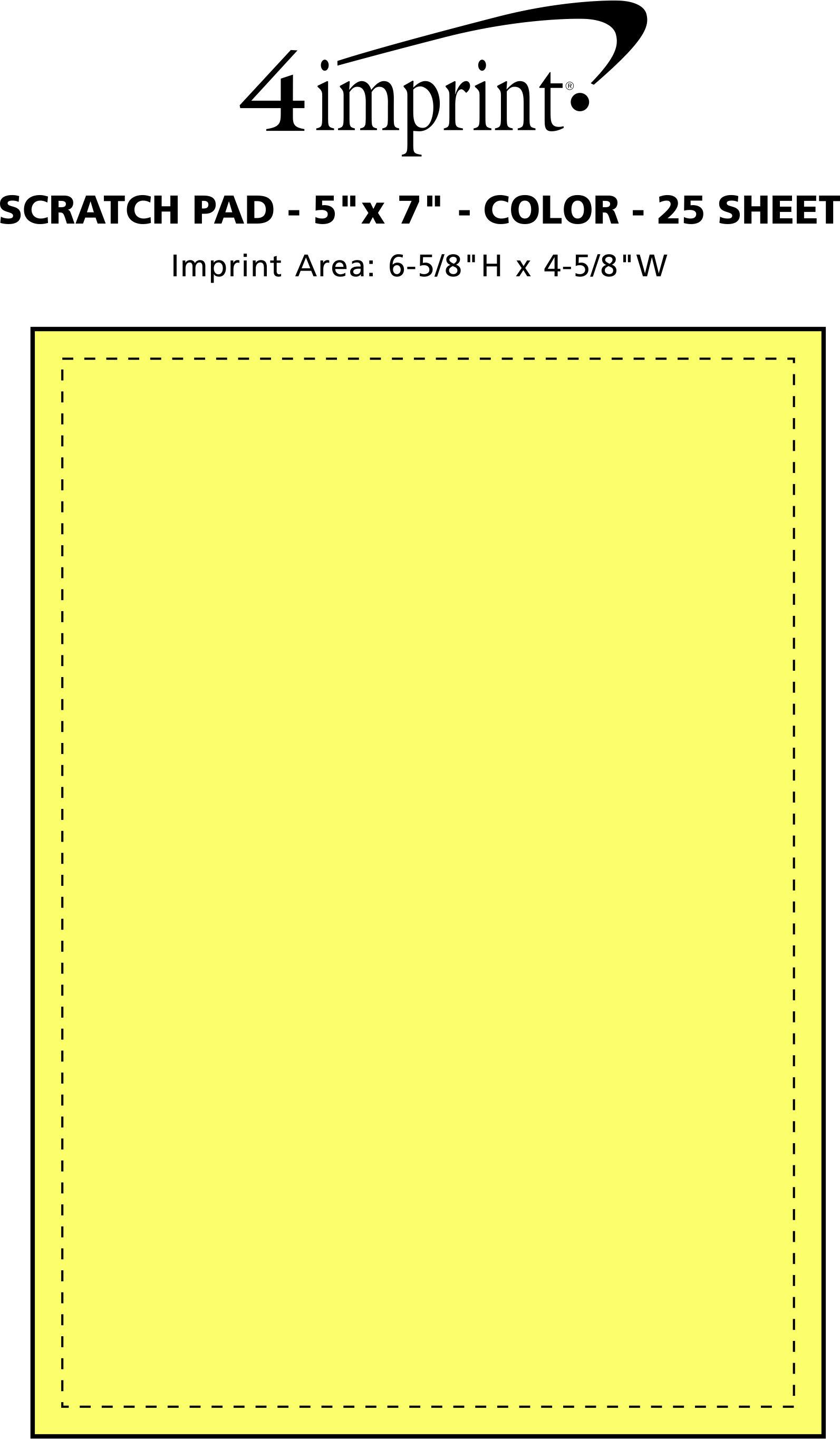 "Imprint Area of Scratch Pad - 7"" x 5"" - Color - 25 Sheet"