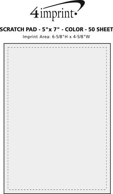 "Imprint Area of Scratch Pad - 7"" x 5"" - Color - 50 Sheet"