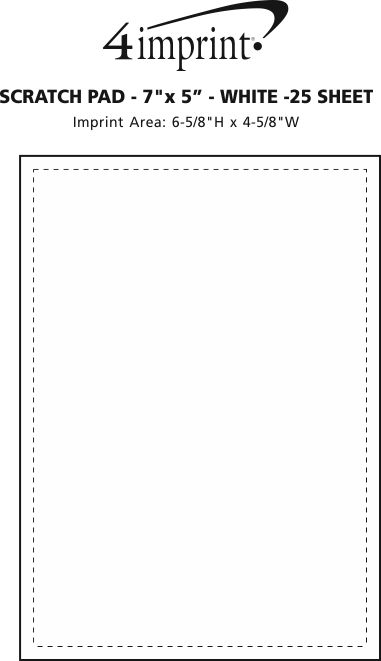 "Imprint Area of Scratch Pad - 7"" x 5"" - White - 25 Sheet"