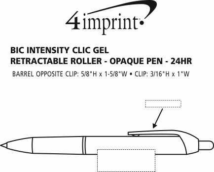 Imprint Area of Bic Intensity Clic Gel Rollerball Pen - Opaque - 24 hr