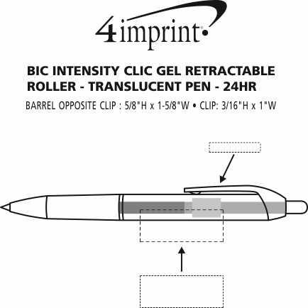 Imprint Area of Bic Intensity Clic Gel Rollerball Pen - Translucent - 24 hr