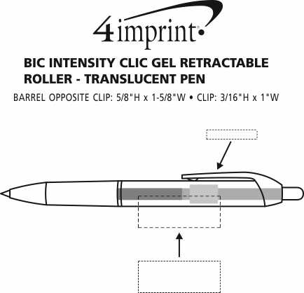 Imprint Area of Bic Intensity Clic Gel Rollerball Pen - Translucent