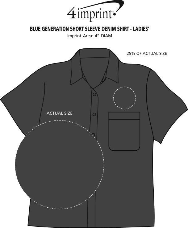 Imprint Area of Cotton Short Sleeve Denim Shirt - Ladies'