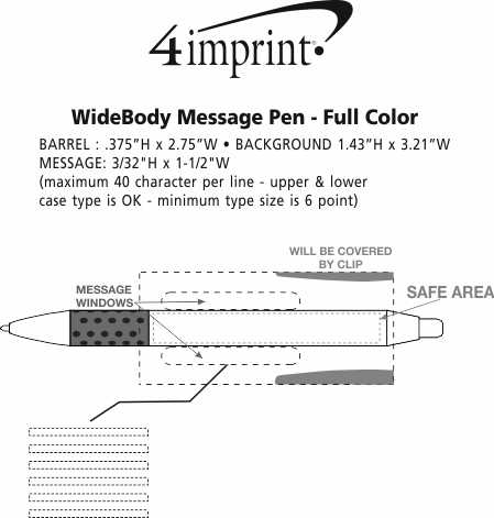 Imprint Area of Bic WideBody Message Pen - Full Color