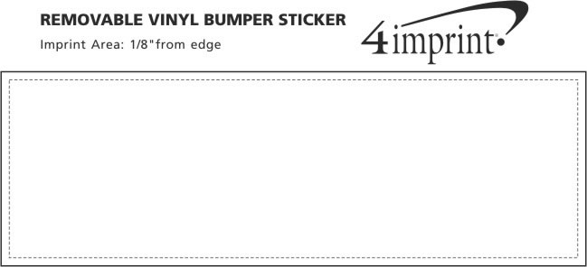 "Imprint Area of Removable Vinyl Bumper Sticker - 3"" x 9"""