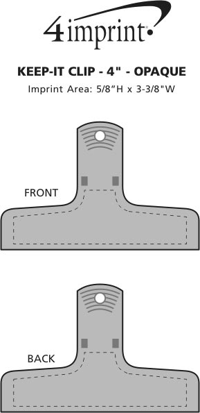 """Imprint Area of Keep-it Clip - 4"""" - Opaque"""