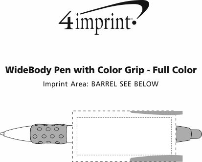 Imprint Area of Bic WideBody Pen with Color Grip - Full Color