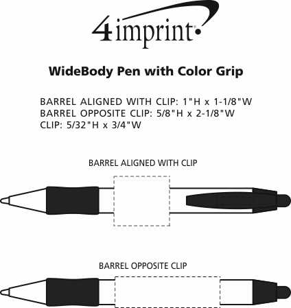 Imprint Area of Bic WideBody Pen with Color Grip