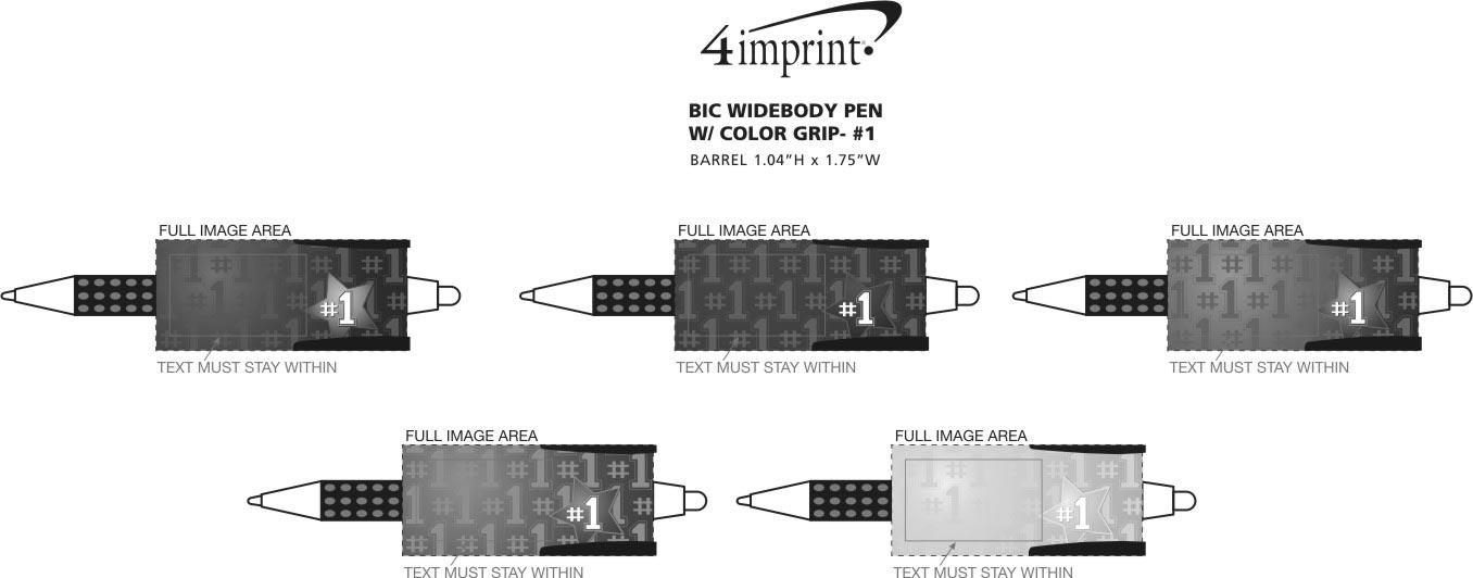 Imprint Area of Bic WideBody Pen with Grip - # 1