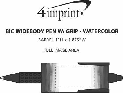 Imprint Area of Bic Widebody Pen with Grip - Watercolor