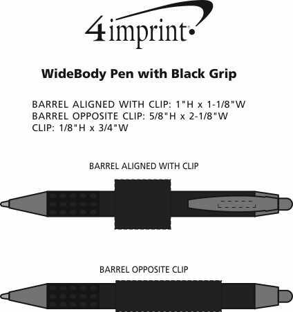Imprint Area of Bic WideBody Pen with Black Grip