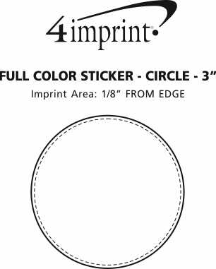 """Imprint Area of Full Color Sticker - Circle - 3"""""""