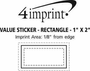 """Imprint Area of Full Color Sticker - Rectangle - 1"""" x 2"""""""