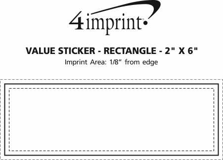 """Imprint Area of Full Color Sticker - Rectangle - 2"""" x 6"""""""
