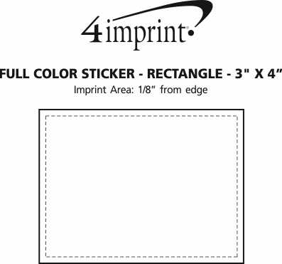 """Imprint Area of Full Color Sticker - Rectangle - 3"""" x 4"""""""