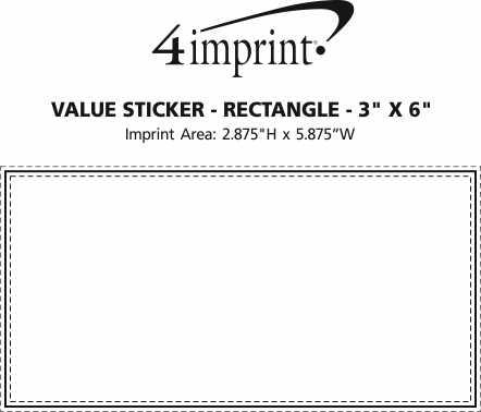 "Imprint Area of Rectangle Sticker - 3"" x 6"""