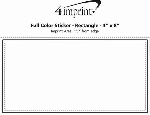 """Imprint Area of Full Color Sticker - Rectangle - 4"""" x 8"""""""