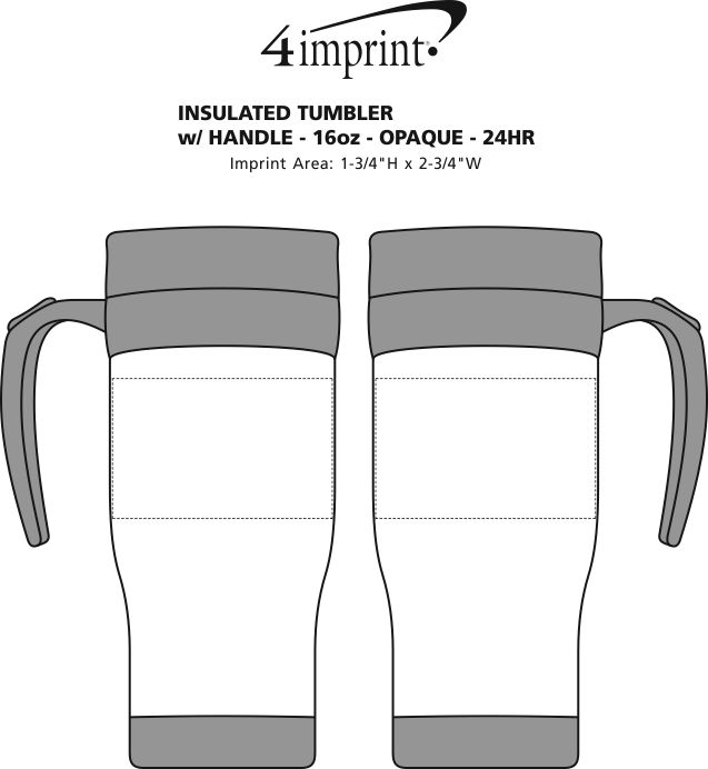 Imprint Area of Insulated Tumbler with Handle - 16 oz. - Opaque - 24 hr