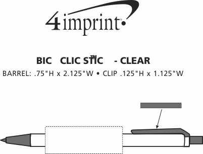 Imprint Area of Bic Clic Stic Pen - Clear