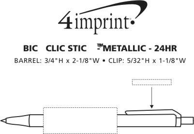Imprint Area of Bic Clic Stic Pen - Metallic - 24 hr
