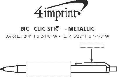 Imprint Area of Bic Clic Stic Pen - Metallic