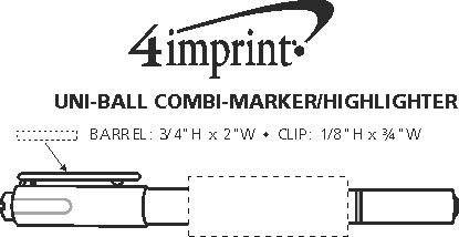 Imprint Area of uni-ball Combi-Marker/Highlighter