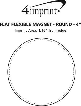 Imprint Area of Flat Flexible Magnet - Round - 4""