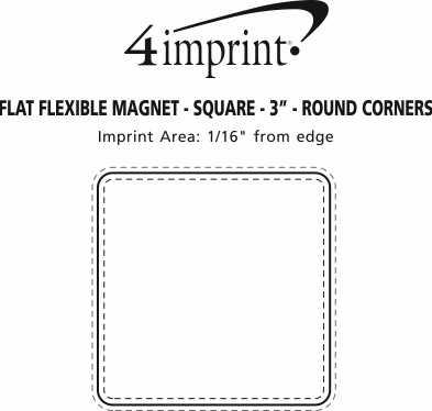 "Imprint Area of Flat Flexible Magnet - Square - 3"" - Round Corners"