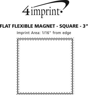 "Imprint Area of Flat Flexible Magnet - Square - 3"""