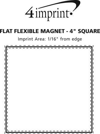 "Imprint Area of Flat Flexible Magnet - Square - 4"""