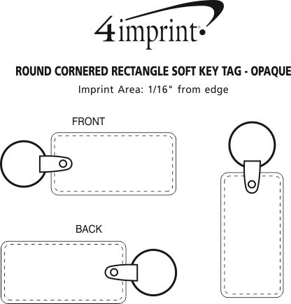 Imprint Area of Rounded Corner Rectangle Soft Keychain - Opaque