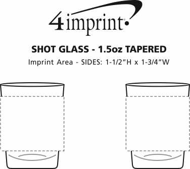 Imprint Area of Shot Glass - 1.5 oz. Tapered