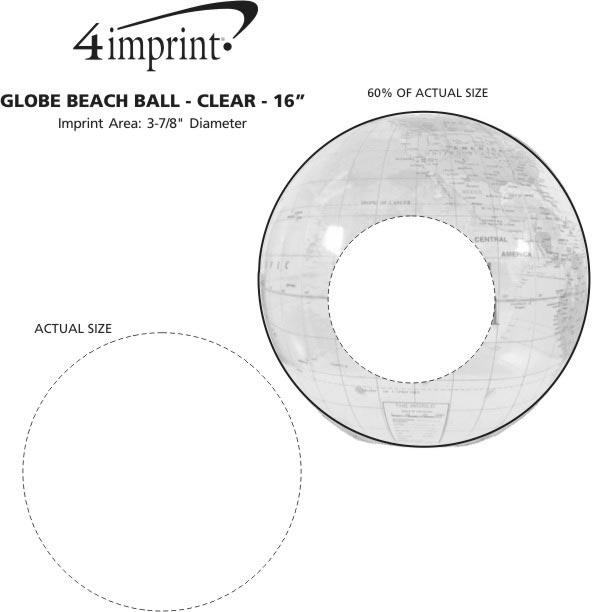 """Imprint Area of Globe Beach Ball - Clear - 16"""""""