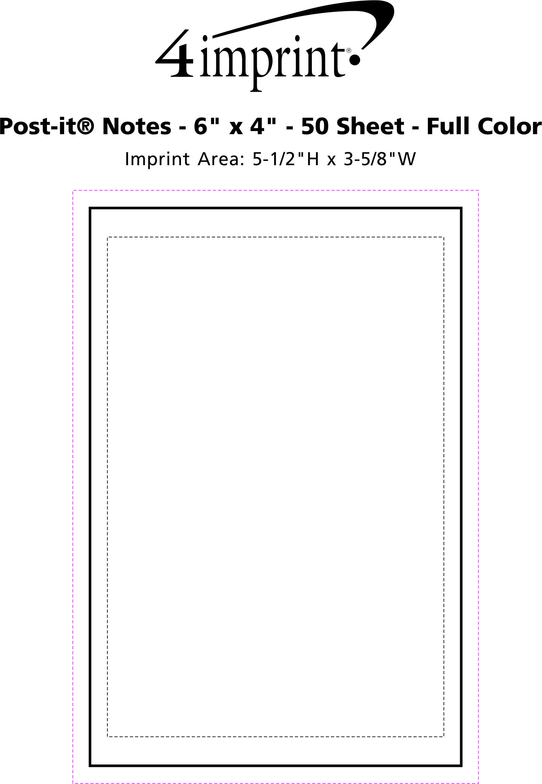 """Imprint Area of Post-it® Notes - 6"""" x 4"""" - 50 Sheet - Full Color"""