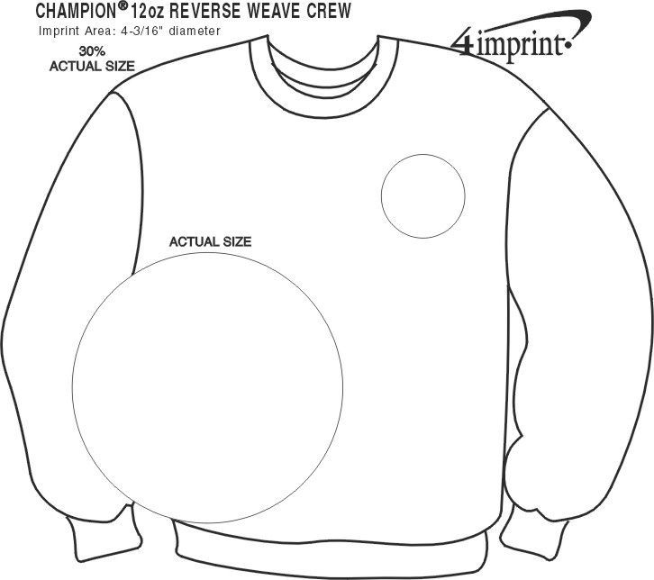 Imprint Area of Champion Reverse Weave 12 oz. Crew Sweatshirt - Screen